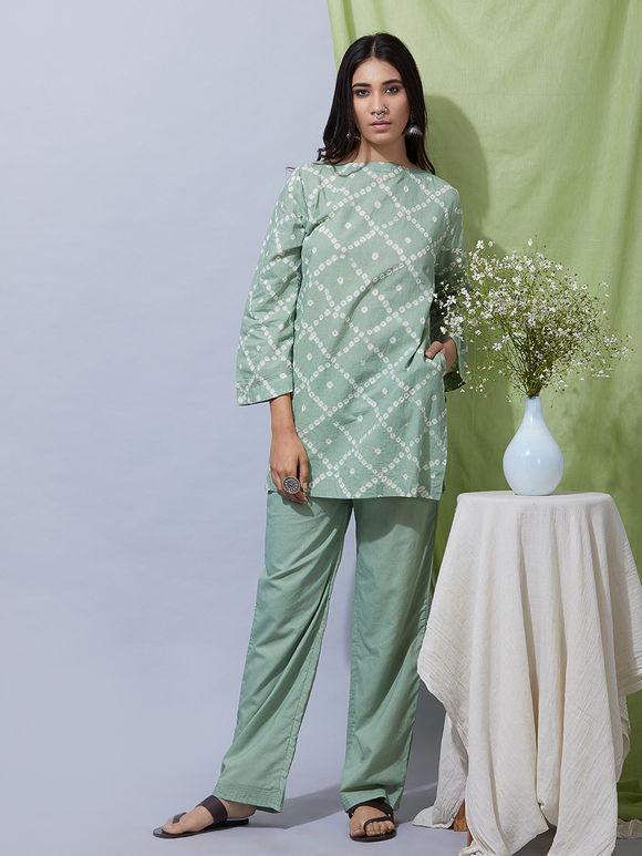 Green Cotton Bandhani Kurta
