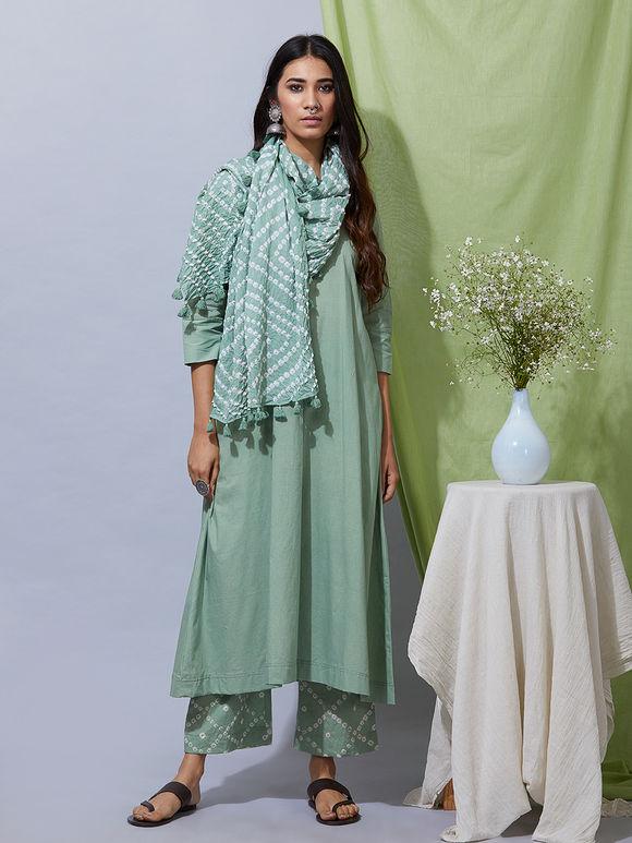 Green Cotton Kurta with Bandhani Pants and Dupatta- Set of 3
