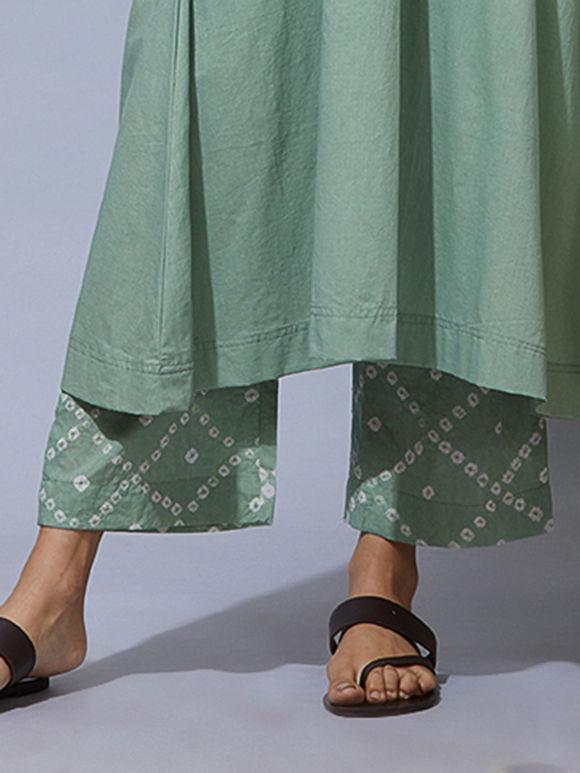 Green Bandhani Cotton Pants