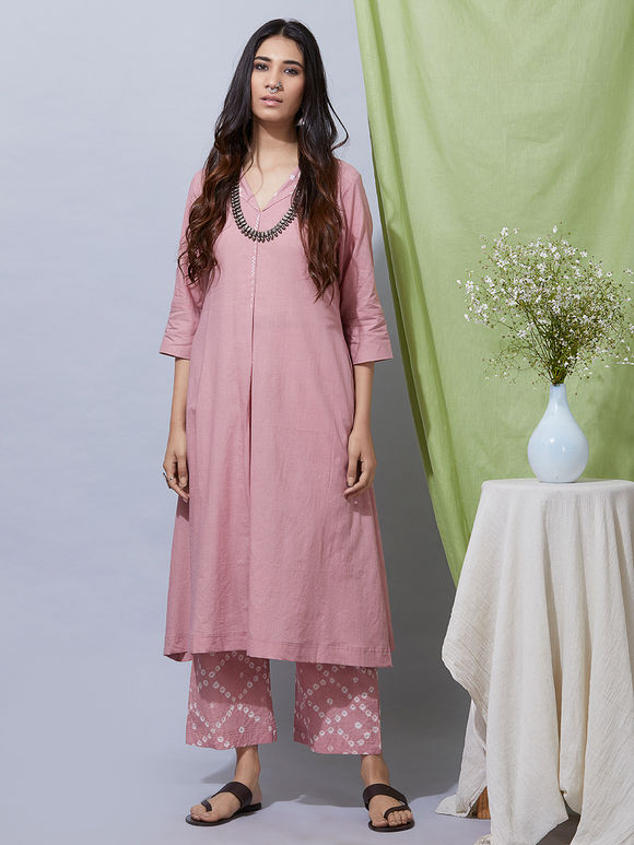 Old Rose Cotton Kurta with Bandhani Pants and Dupatta- Set of 3