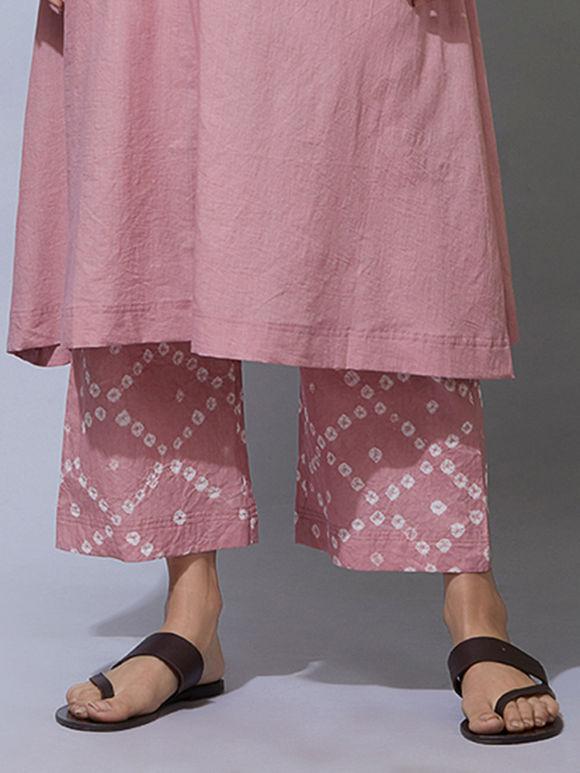 Old Rose Bandhani Cotton Pants