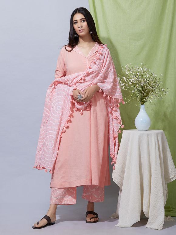 Peach Cotton Kurta with Bandhani Pants and Dupatta- Set of 3
