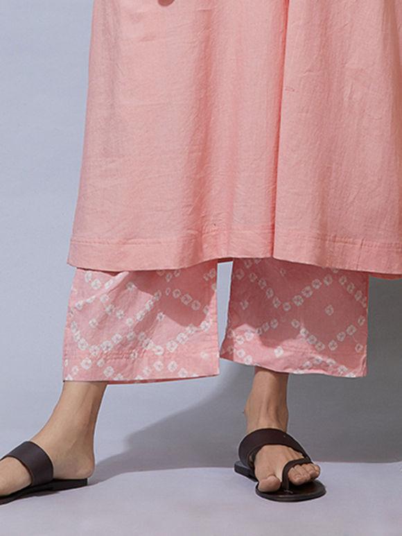 Peach Bandhani Cotton Pants