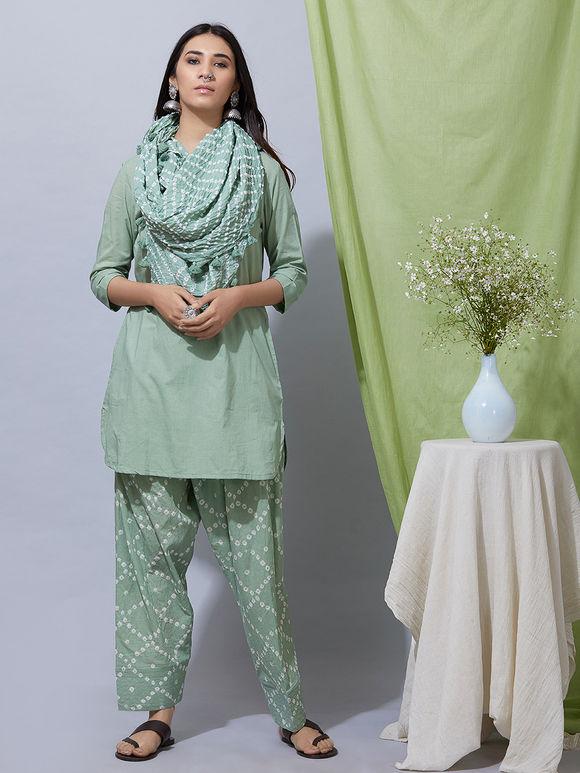 Green Cotton Kurta with Bandhani Salwar and Dupatta- Set of 3