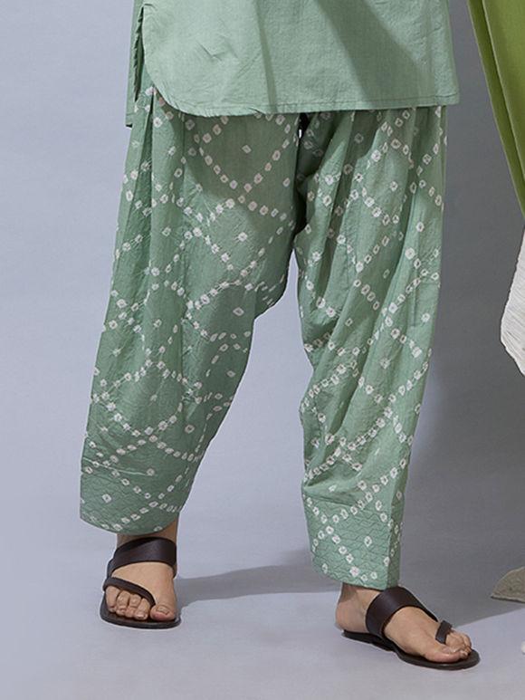 Green Bandhani Cotton Salwar