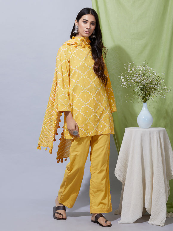 Yellow Cotton Bandhani Kurta with Pants and Dupatta- Set of 3