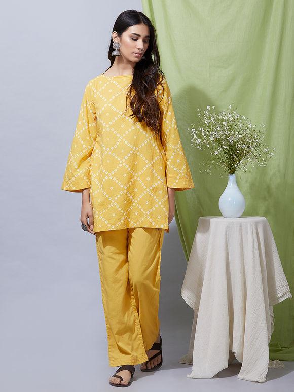 Yellow Cotton Bandhani Kurta