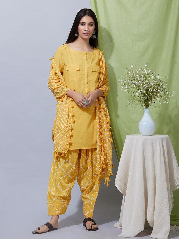 Yellow Cotton Kurta with Bandhani Salwar and Dupatta- Set of 3