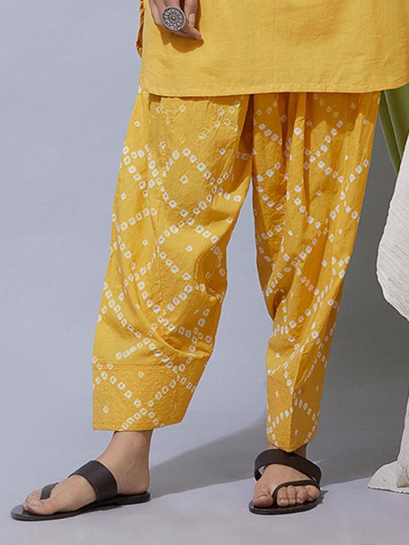 Yellow Bandhani Cotton Salwar