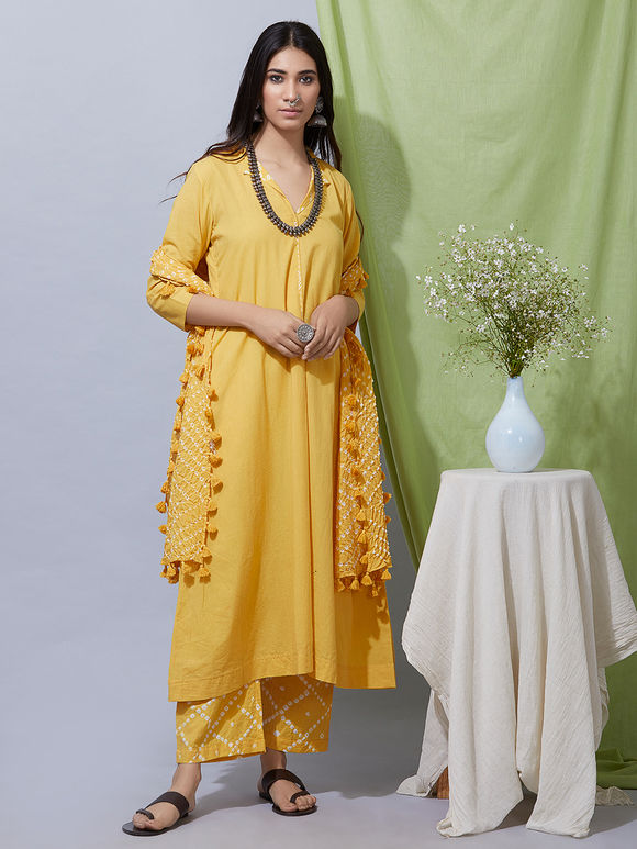 Yellow Cotton Kurta with Bandhani Pants and Dupatta- Set of 3