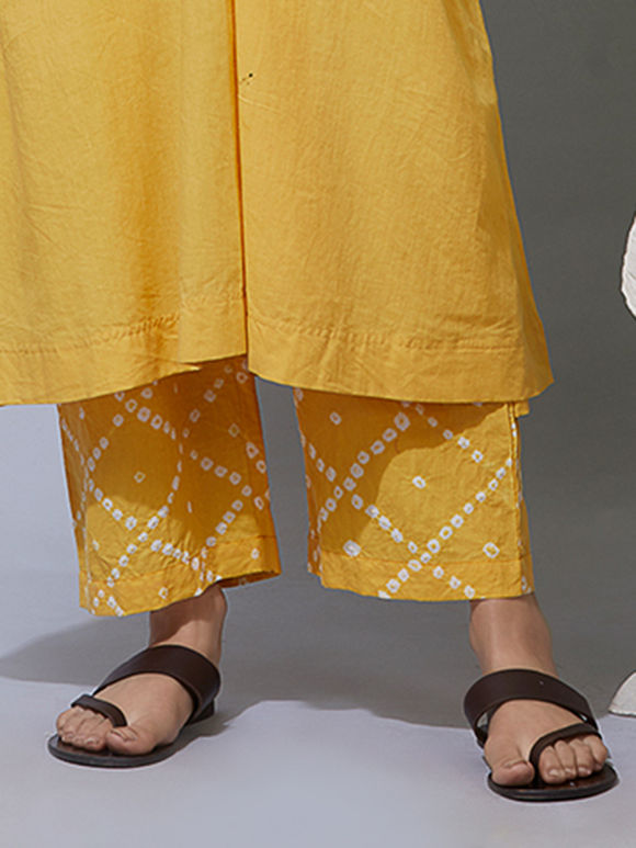 Yellow Bandhani Cotton Pants