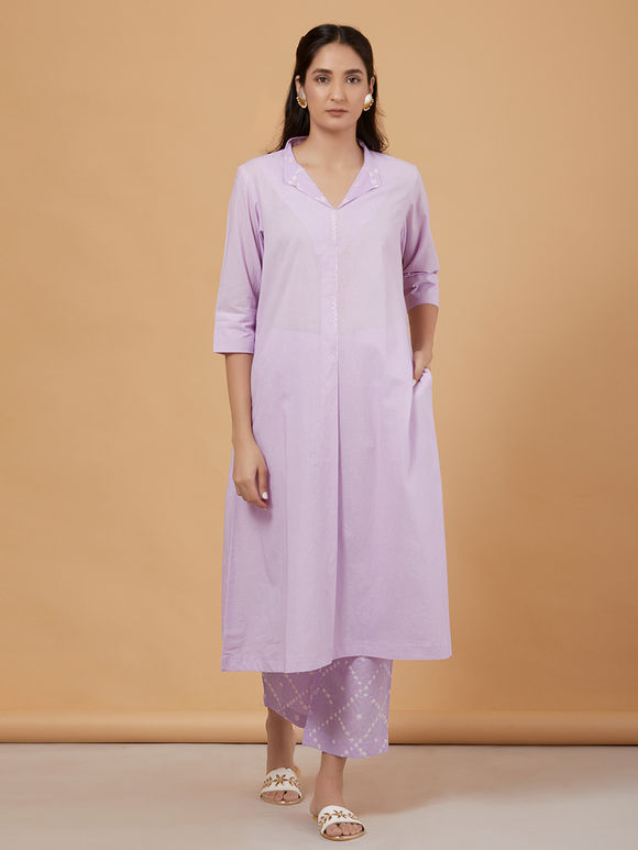 Purple Cotton Kurta with Bandhani Pants and Dupatta- Set of 3