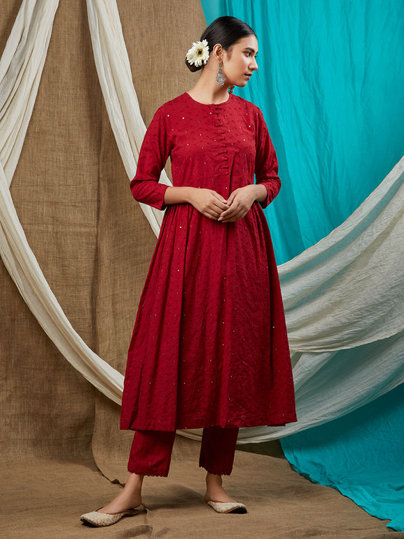 Red Cotton Sequins Embroidered Kurta with Pants and Dupatta - Set of 3
