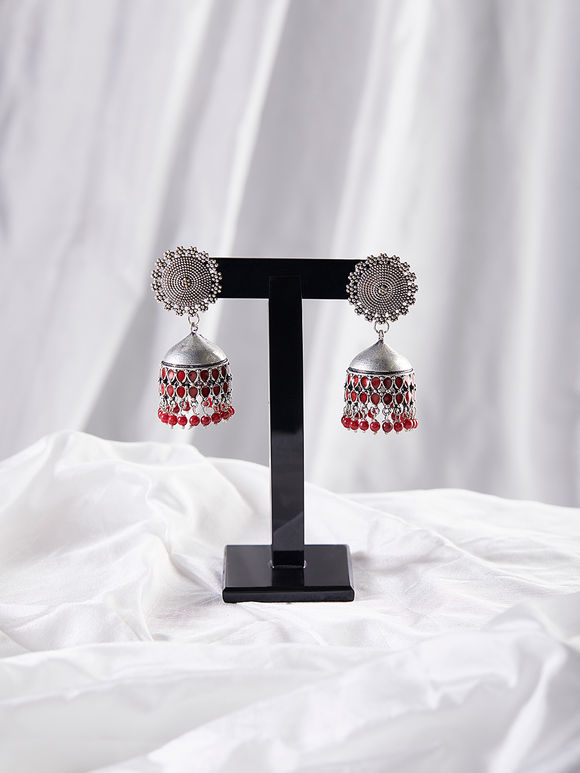 Red Silver Toned Brass Jhumkies