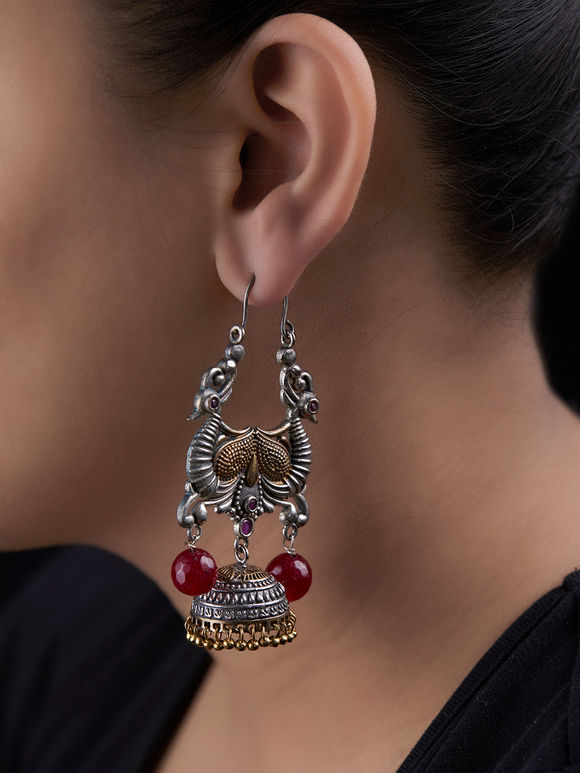 Dual Toned Pink Handcrafted Brass Jhumkies