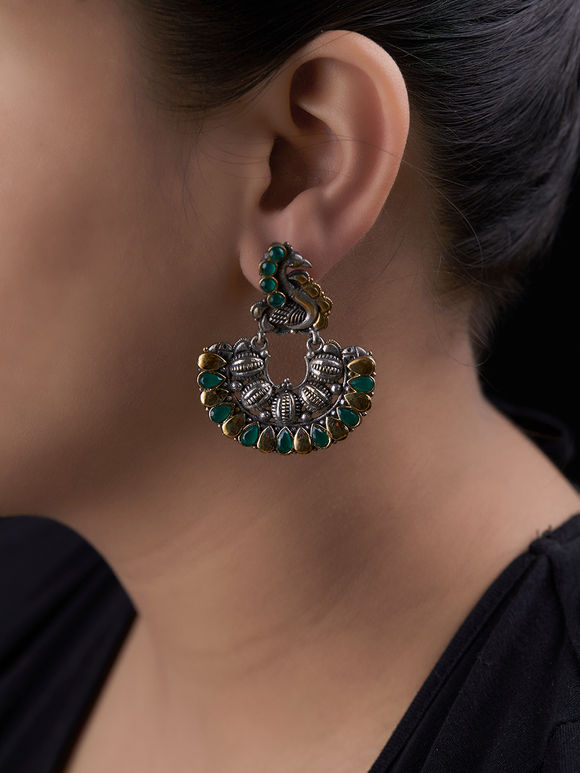 Dual Toned Green Handcrafted Peacock Brass Earrings