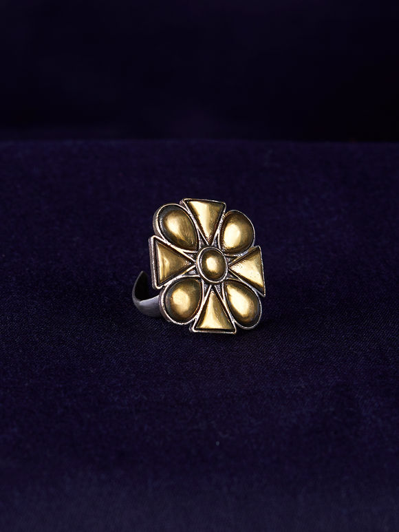 Gold Toned Handcrafted Brass Ring