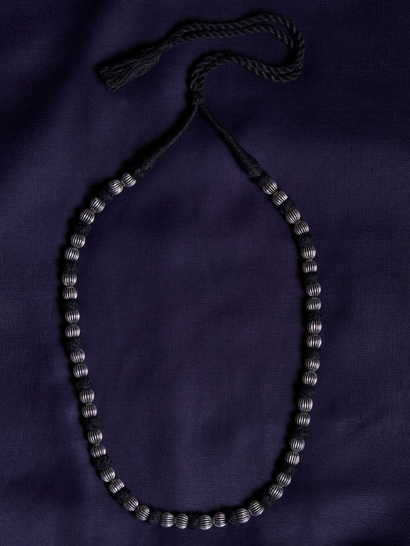 Silver Toned Black Beaded Brass Necklace