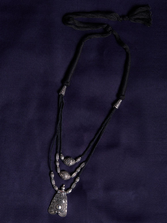 Silver Toned Pendant Brass Necklace