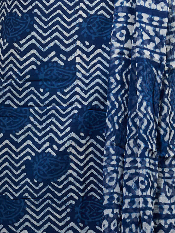 Indigo White Hand Block Printed Cotton Suit Fabric with Chiffon Dupatta -Set of 3