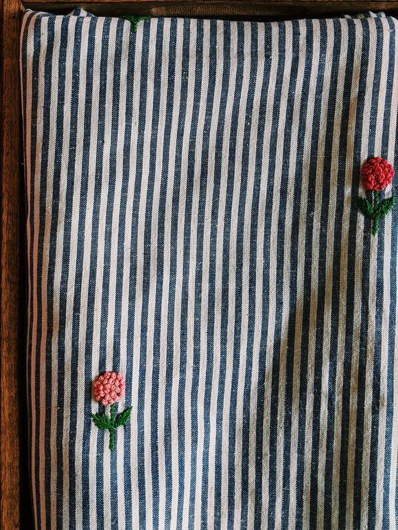 Black White Striped Embroidered Khadi Fabric