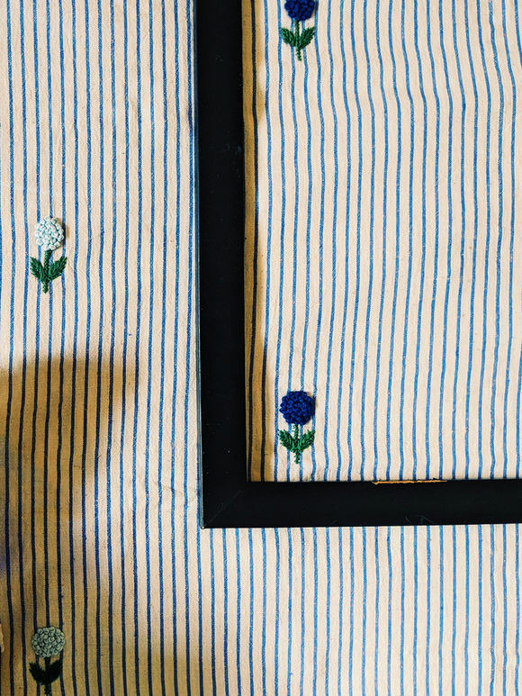 Blue White Embroidered Khadi Fabric