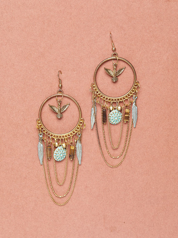 Gold Toned Handcrafted Brass Earrings