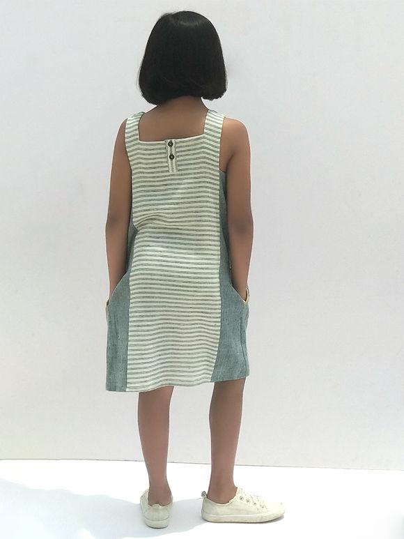 Grey Striped Cotton Dress
