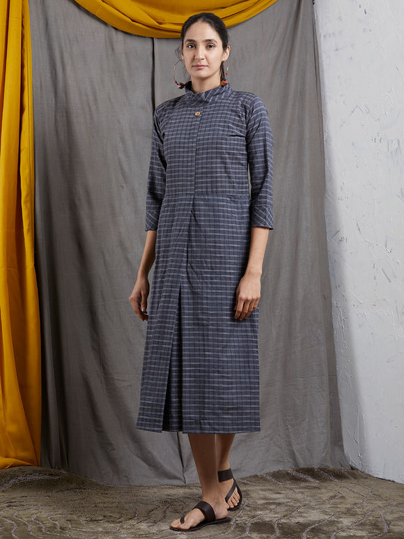 Grey Checkered High Neck Khadi Dress