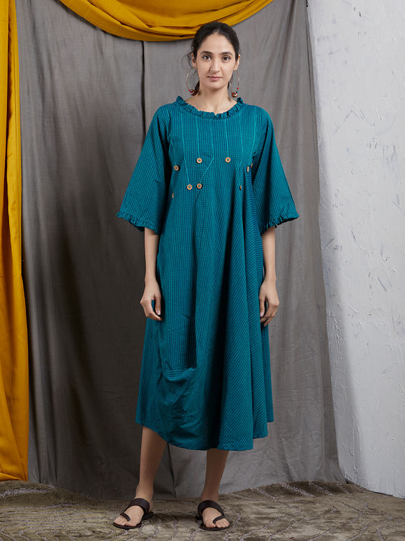 Teal Blue Khadi Cowl Dress
