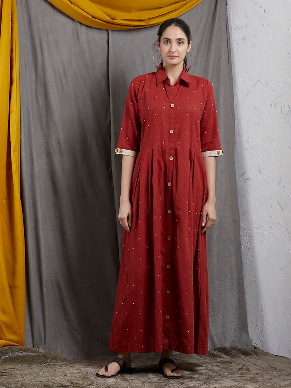 Maroon Khadi Shirt Maxi Dress