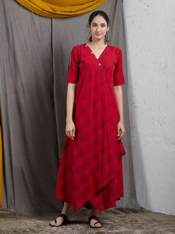 Red Checkered Khadi Overlap Asymmetric Dress