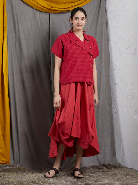 Red Khadi Sleeveless Cowl Dress with Checkered Jacket- Set of 2