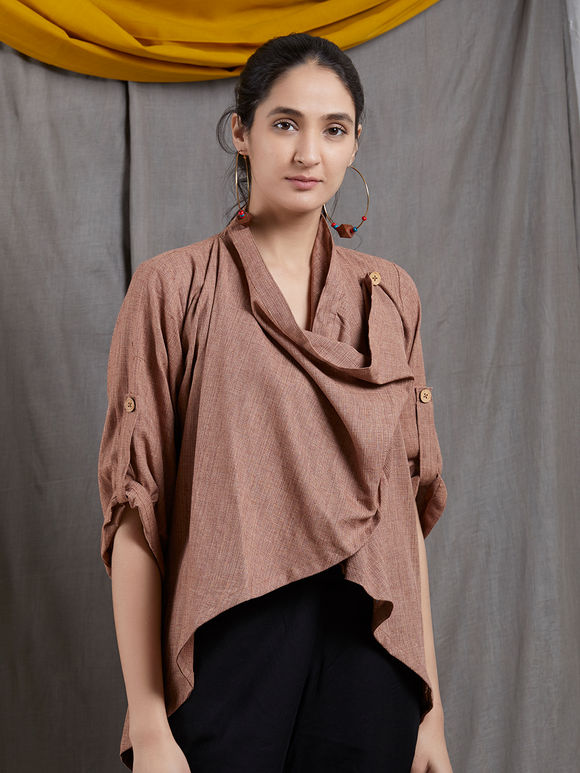 Brown Khadi Asymmetric Top