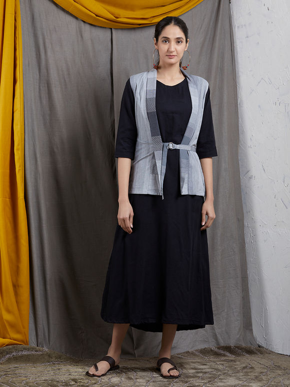 Black Khadi Dress with Grey Jacket- Set of 2