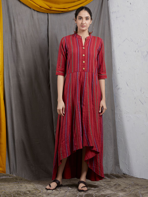 Red Khadi High Low Dress