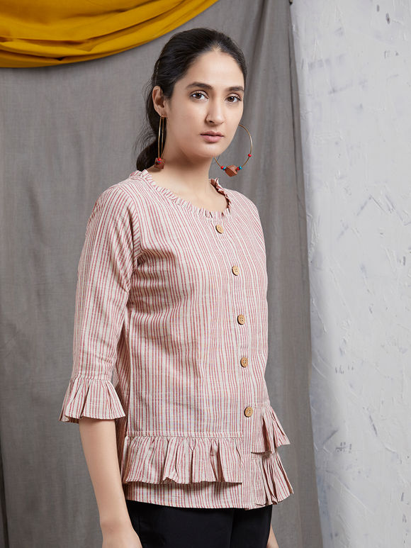 Beige Red Striped Khadi Ruffled Top