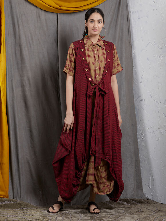 Brown Checkered Khadi Cowl Dress with Maroon Asymmetric Jacket- Set of 2