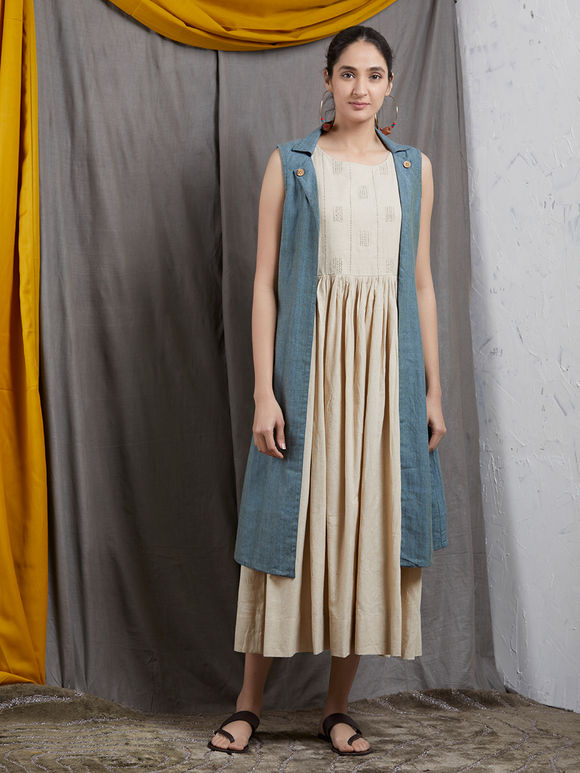Beige Embroidered Khadi Sleeveless Dress with Blue Jacket- Set of 2