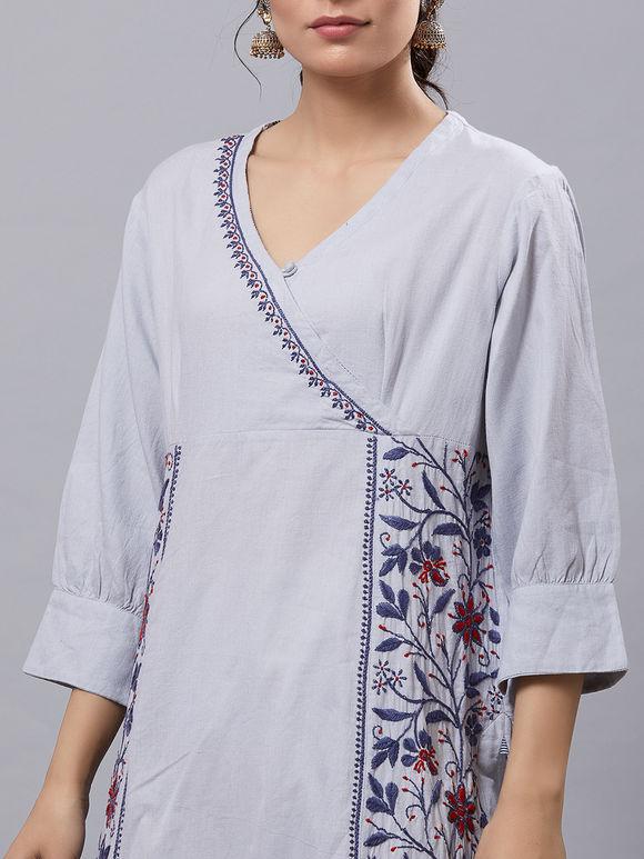Grey Hand Embroidered Cotton Overlap Kurta
