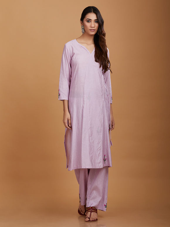 Lavender Handpainted Cotton Chanderi Angrakha Kurta with Pants and Crushed Dupatta - Set of 3