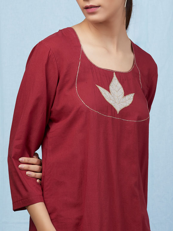Maroon Applique Work Cambric Cotton Kurta with Palazzo - Set of 2