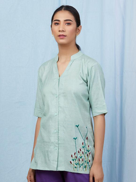 Mint Green Hand Embroidered Cotton Shirt