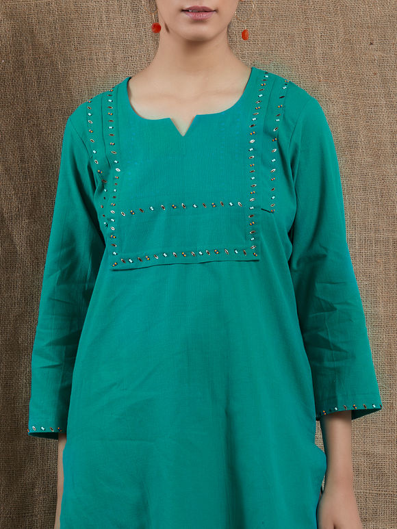 Green Sequins Embroidered Mangalgiri Cotton Kurta with White Pants - Set of 2