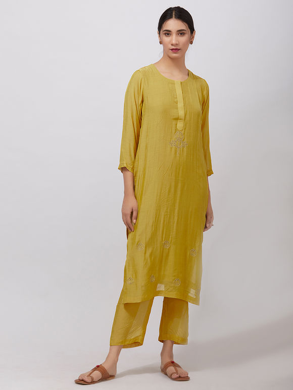 Yellow Zari Embroidered Muslin Suit- Set of 3