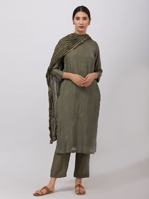 Olive Green Zari Embroidered Muslin Suit- Set of 3