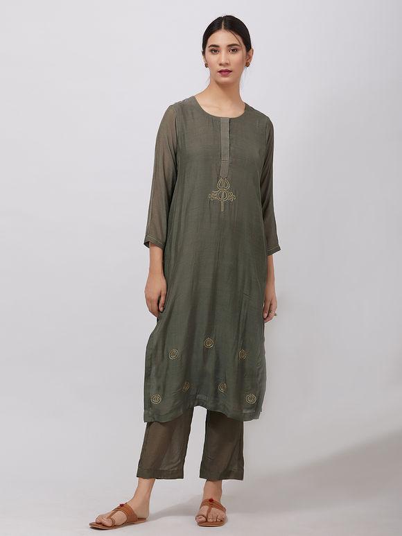 Olive Green Zari Embroidered Muslin Kurta