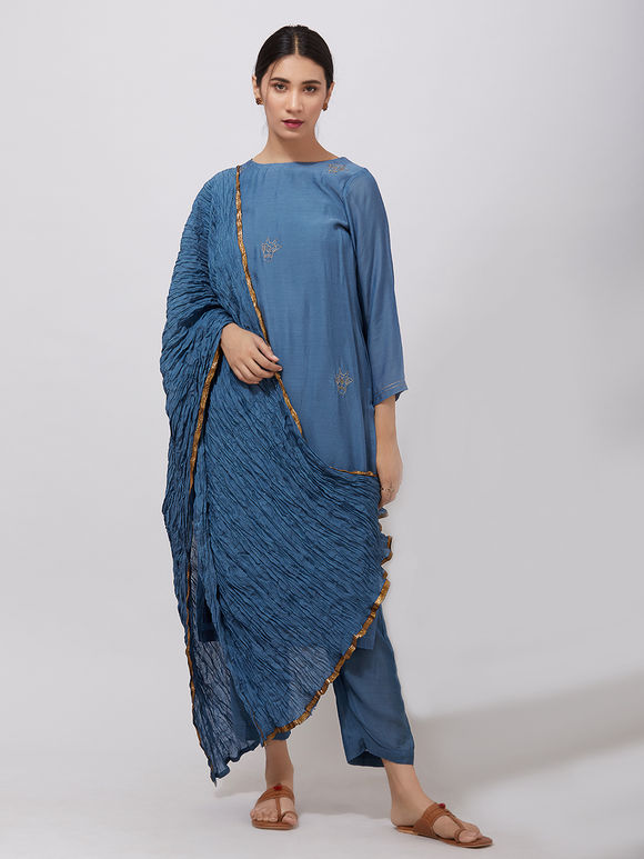Blue Zari Embroidered Muslin Suit- Set of 3