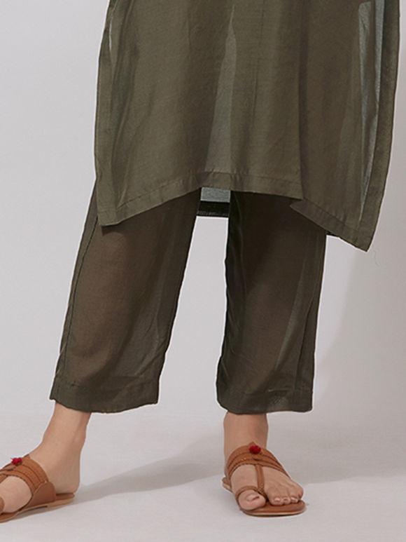 Olive Green Muslin Pants