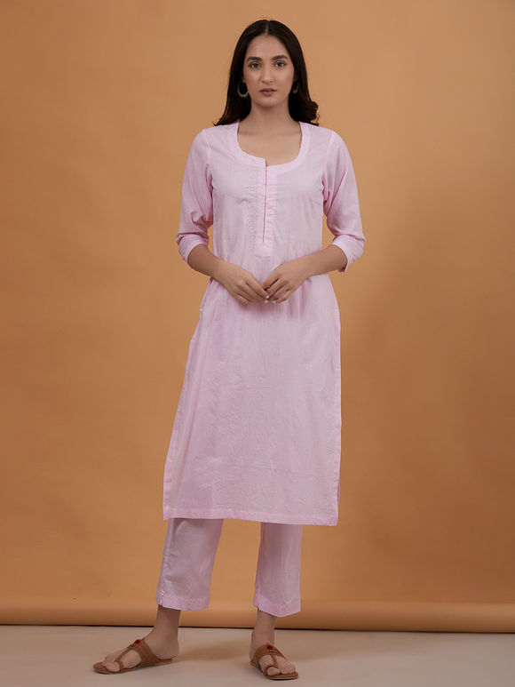 Pink Embroidered Cambric Cotton Kurta with Pants - Set of 2